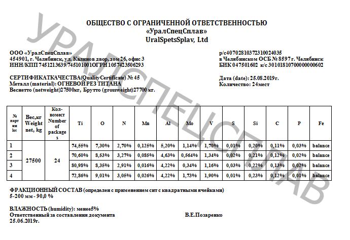 certificate titanium waste